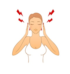 Woman with headache vector