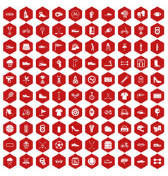 100 sneakers icons hexagon red vector