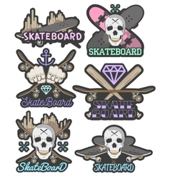 Set of colorful skateboard emblems vector