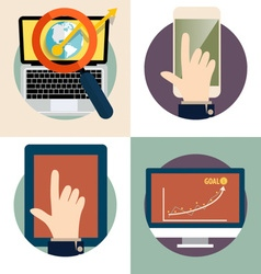 Electronic Device Flat Icons computer laptop vector image