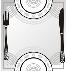 Menu plate fork knife vector