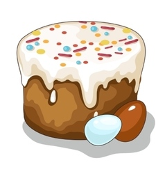 Easter holiday cake and painted eggs vector