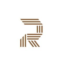 letter R stripes logo vector image