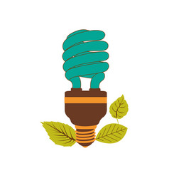 Fluorescent bulb spiral in color turquoise and vector