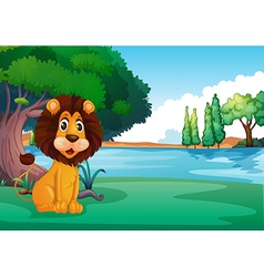 A lion sitting along the river vector image