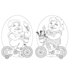 Two fat people on bicycles black and white image vector