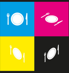 Fork plate and knife  white icon with vector