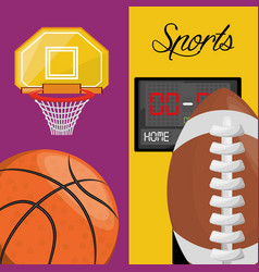 Basketball and football points competition game vector