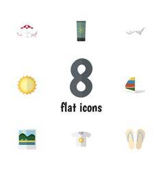 Flat icon summer set of recliner beach sandals vector