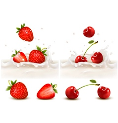Red strawberry and cherries fruits falling into vector