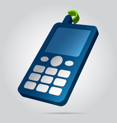 3d image - colored old mobile phone with antenna vector