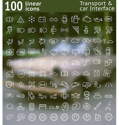 100 line icons set for web design and user vector