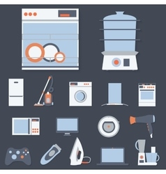 Flat design set icons of home appliances vector image