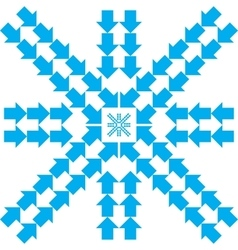 Pattern with blue arrows in snowflake form vector