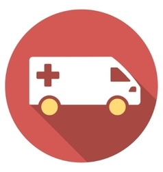 Emergency van flat round icon with long shadow vector