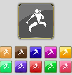 Karate kick icon sign set with eleven colored vector