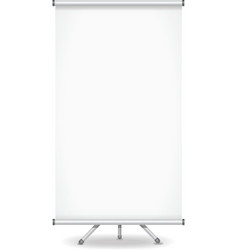 Blank roll up banner display on white background vector