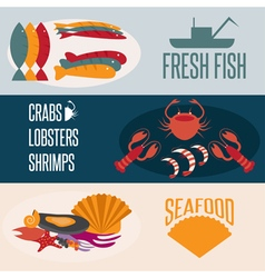 flat design banners with seafood theme vector image