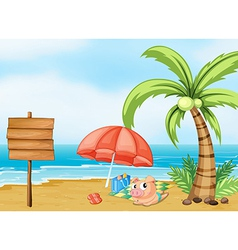 A pig near the beach vector image