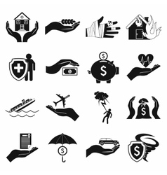Accident insurance icons set simple style vector image