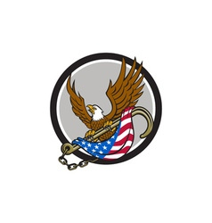 American eagle clutching towing j hook flag circle vector