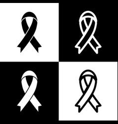 Black awareness ribbon sign black and vector