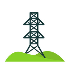 Black tower for wires on piece of land with hills vector