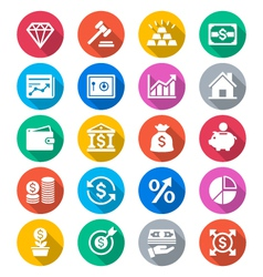 Business and investment flat color icons vector