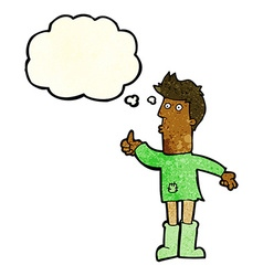 Cartoon poor man with thought bubble vector