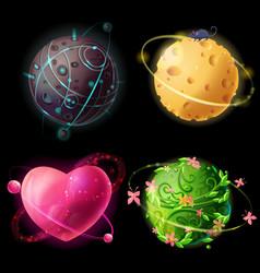 cartoon worlds set alien cheese plants vector image