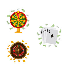 casino roulette wheel of fortune playing cards vector image