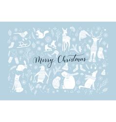 Christmas animal collection vector image