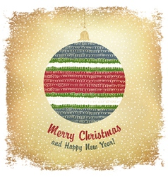 christmas ball card design vector image