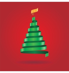 Christmas card with ribbon tree vector