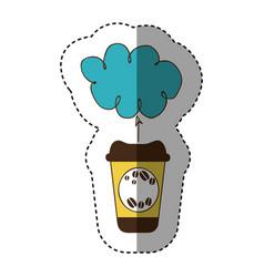 Color coffee online clound icon vector