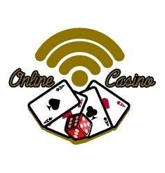 Color vintage online casino emblem vector image
