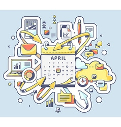 colorful of deadline date with calendar on b vector image