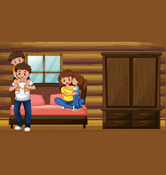 Family with parents and two kids in bedroom vector