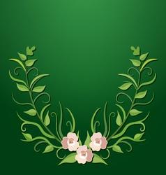 Green floral border vector