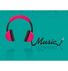 headphones forming the word music turquoise backgr vector image vector image