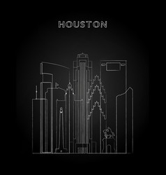 Houston skyline with chalk drawing vector