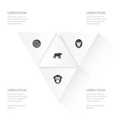 Icon animal set of wild baboon monkey and other vector