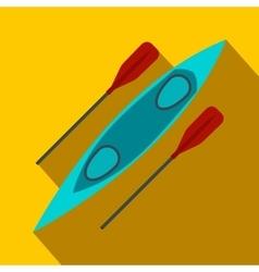 Kayak and rowing oar flat icon vector image
