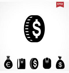 money dollar icon vector image