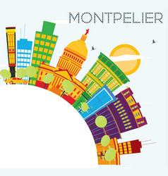 montpelier skyline with color buildings blue sky vector image