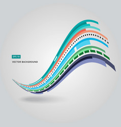multi-color curve line abstraction vector image