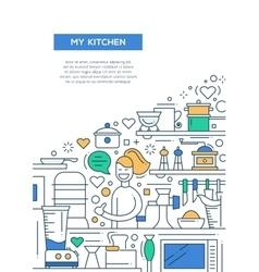 My Kitchen - line design brochure poster template vector image vector image