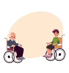 Old man and teenaged boy sitting in wheelchairs vector