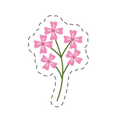 Pink flower decoration image cut line vector
