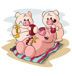 potbelly piggies sunbathing vector image vector image